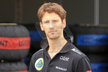 World © Octane Photographic Ltd. F1 Spanish GP Thursday 9th May 2013. Paddock and pitlane. Lotus - Romain Grosjean. Digital Ref : 0654cb7d8447