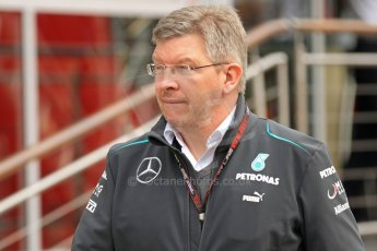 World © Octane Photographic Ltd. F1 Spanish GP Thursday 9th May 2013. Paddock and pitlane. Mercedes AMG Petronas - Ross Brawn. Digital Ref : 0654cb7d8504