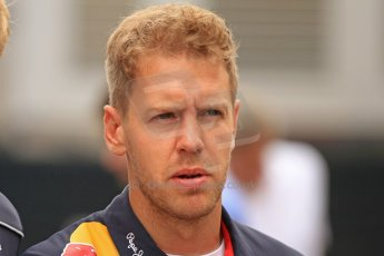 World © Octane Photographic Ltd. F1 Spanish GP Thursday 9th May 2013. Paddock and pitlane. Infiniti Red Bull Racing - Sebastian Vettel. Digital Ref : 0654cb7d8542