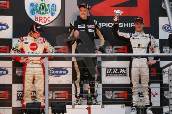 World © Octane Photographic Ltd. Brands Hatch, Race 4 Podium, Sunday 24th November 2013. BRDC Formula 4 Winter Series, MSV F4-13,  – Kieran Vernon (1st) - Hillspeed, Pietro Fittipaldi (2nd) – MGR and Sennan Fielding (3rd) – HHC Motorsport. Digital Ref : 0868cb1d7961