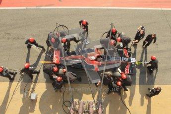 World © Octane Photographic 2011. Monday 21st February 2011 Circuit de Catalunya. Virgin MVR-02 - Jerome d'Ambrosio, pitstop practice. Digital ref : 0011CB1D2835