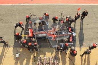 World © Octane Photographic 2011. Monday 21st February 2011 Circuit de Catalunya. Virgin MVR-02 - Jerome d'Ambrosio, pitstop practice. Digital ref : 0011CB1D2845