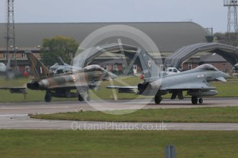 """World © Octane Photographic Ltd. October 6th 2015. RAF Coningsby. Eurofighter Typhoon FGR.4 ZK349 """"GN-A"""", 29Sqn, Battle of Britain commemorative scheme and Eurofighter Typhoon FGR.4 ZK320 """"BR"""". Digital Ref : 1454CB1D6605"""