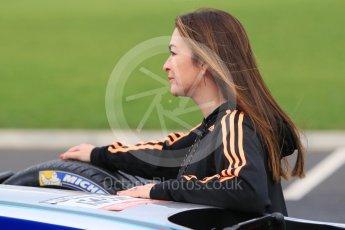 World © Octane Photographic Ltd. 5th February 2016 – Donington Park Racetrack. Suzi Perry launches the 2016 Donington Park Summer Running Festival with a Formula e car. Digital Ref : 1500CB1D0522