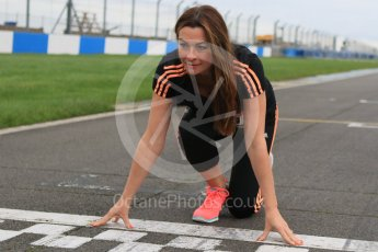 World © Octane Photographic Ltd. 5th February 2016 – Donington Park Racetrack. Suzi Perry launches the 2016 Donington Park Summer Running Festival. Digital Ref : 1500CB7D6023