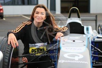 World © Octane Photographic Ltd. 5th February 2016 – Donington Park Racetrack. Suzi Perry launches the 2016 Donington Park Summer Running Festival with a Formula e car. Digital Ref : 1500CB7D6248