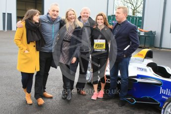World © Octane Photographic Ltd. 5th February 2016 – Donington Park Racetrack. Suzi Perry and Brendan Foster launch the 2016 Donington Park Summer Running Festival with a Formula e car. Digital Ref : 1500CB7D6289