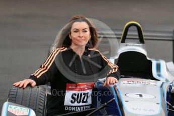 World © Octane Photographic Ltd. 5th February 2016 – Donington Park Racetrack. Suzi Perry launches the 2016 Donington Park Summer Running Festival with a Formula e car. Digital Ref : 1500LB1D6709