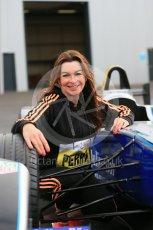 World © Octane Photographic Ltd. 5th February 2016 – Donington Park Racetrack. Suzi Perry launches the 2016 Donington Park Summer Running Festival with a Formula e car. Digital Ref : 1500LB1D6726