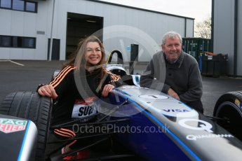 World © Octane Photographic Ltd. 5th February 2016 – Donington Park Racetrack. Suzi Perry and Brendan Foster launch the 2016 Donington Park Summer Running Festival with a Formula e car. Digital Ref : 1500LB5D6372