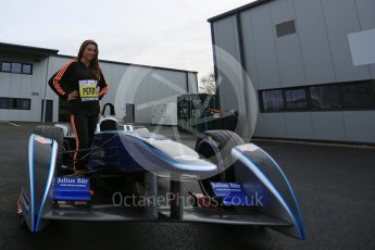 World © Octane Photographic Ltd. 5th February 2016 – Donington Park Racetrack. Suzi Perry launches the 2016 Donington Park Summer Running Festival with a Formula e car. Digital Ref : 1500LB5D6388