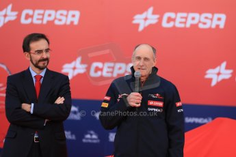 World © Octane Photographic Ltd. 2014 Formula 1 Winter Testing, Circuito de Velocidad, Jerez. Tuesday 27th January 2014. Day 1. Scuderia Toro Rosso STR9 – Launch. Franz Tost and Cepsa. Digital Ref: 0880lw1d9398