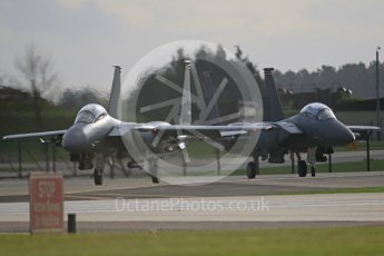 """World © Octane Photographic Ltd. RAF Lakenheath operations 16th November 2015, USAF (United States Air Force) 48th Fighter Wing """"Statue of Liberty Wing"""" 494 Fighter Squadron """"Panthers"""", McDonnell Douglas F-15E Strike Eagle LN 91-604 and LN 01-2004. Digital Ref : 1469CB7D0381"""
