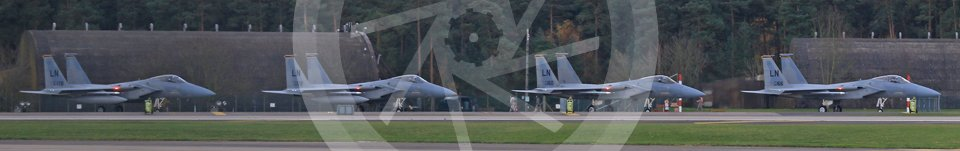 """World © Octane Photographic Ltd. RAF Lakenheath operations 16th November 2015, USAF (United States Air Force) 48th Fighter Wing """"Statue of Liberty Wing"""" 493 Fighter Squadron """"The Grim Reapers"""", McDonnell Douglas F-15C Eagle LN 86-178, LN 86-172, LN 86-160 and LN 86-166. Digital Ref : 1469CB7D0445"""