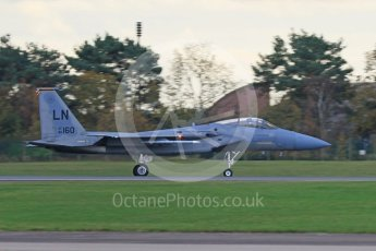 """World © Octane Photographic Ltd. RAF Lakenheath operations 16th November 2015, USAF (United States Air Force) 48th Fighter Wing """"Statue of Liberty Wing"""" 493 Fighter Squadron """"The Grim Reapers"""", McDonnell Douglas F-15C Eagle LN 86-160. Digital Ref : 1469CB7D0480"""