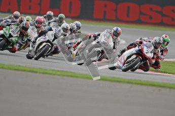 © Octane Photographic Ltd. World Superbike Championship – Silverstone, Race 1. Sunday 5th August 2012. Carlos Checa leading the pack on the 2nd start - Ducati 1098R - Althea Racing. Digital Ref :