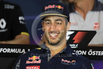 World © Octane Photographic Ltd. F1 Austrian GP FIA Drivers' Press Conference, Red Bull Ring, Spielberg, Austria. Thursday 30th June 2016. Red Bull Racing – Daniel Ricciardo . Digital Ref :1596LB1D4953
