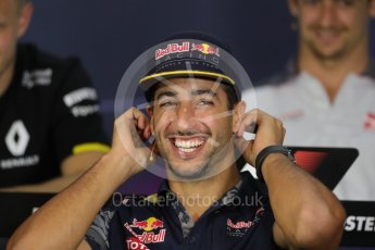 World © Octane Photographic Ltd. F1 Austrian GP FIA Drivers' Press Conference, Red Bull Ring, Spielberg, Austria. Thursday 30th June 2016. Red Bull Racing – Daniel Ricciardo . Digital Ref :1596LB1D5305