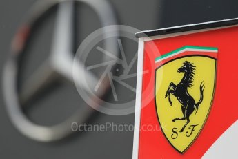 World © Octane Photographic Ltd. Mercedes logo with – Ferrari logo. Thursday 30th June 2016, F1 Austrian GP Paddock, Red Bull Ring, Spielberg, Austria. Digital Ref : 1594CB1D1401