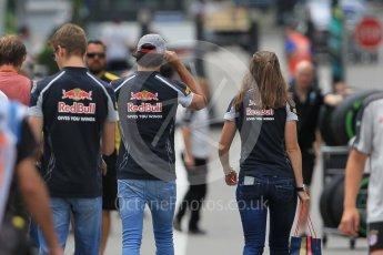 World © Octane Photographic Ltd. Scuderia Toro Rosso STR11 – Carlos Sainz and Daniil Kvyat. Thursday 30th June 2016, F1 Austrian GP Paddock, Red Bull Ring, Spielberg, Austria. Digital Ref :1594CB1D1691