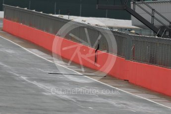 World © Octane Photographic Ltd. Wooden beam on track from the start line overhead gantry. Tuesday 12th July 2016, F1 In-season testing, Silverstone UK. Digital Ref : 1618LB1D7850