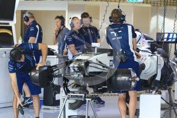 World © Octane Photographic Ltd. Williams Martini Racing, Williams Mercedes FW38 under build Thursday 24th November 2016, F1 Abu Dhabi GP - Pitlane, Yas Marina circuit, Abu Dhabi. Digital Ref :