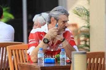 World © Octane Photographic Ltd. Scuderia Ferrari Team Principal Maurizio Arrivabene. Thursday 24th November 2016, F1 Abu Dhabi GP - Pitlane, Yas Marina circuit, Abu Dhabi. Digital Ref :