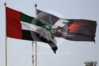World © Octane Photographic Ltd. Abu Dhabi and F1 flags. Thursday 24th November 2016, F1 Abu Dhabi GP - Paddock, Yas Marina circuit, Abu Dhabi. Digital Ref :