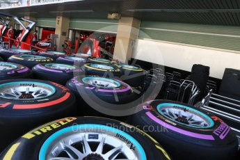 World © Octane Photographic Ltd. Mercedes AMG Petronas wheels with Purple (Ultrasoft), Red (Supersoft) and Yellow (Soft) Pirelli tyres. Thursday 24th November 2016, F1 Abu Dhabi GP - Pitlane. Yas Marina circuit, Abu Dhabi. Digital Ref :