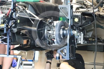 World © Octane Photographic Ltd. Mercedes AMG Petronas W07 Hybrid – Mechanics at work. Thursday 24th November 2016, F1 Abu Dhabi GP - Pitlane. Yas Marina circuit, Abu Dhabi. Digital Ref :