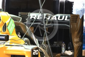 World © Octane Photographic Ltd. Renault Sport F1 Team RS16 - Rear Wing. Thursday 24th November 2016, F1 Abu Dhabi GP - Pitlane, Yas Marina circuit, Abu Dhabi. Digital Ref :