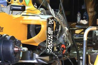 World © Octane Photographic Ltd. Renault Sport F1 Team RS16 - Sidepod detail. Thursday 24th November 2016, F1 Abu Dhabi GP - Pitlane, Yas Marina circuit, Abu Dhabi. Digital Ref :