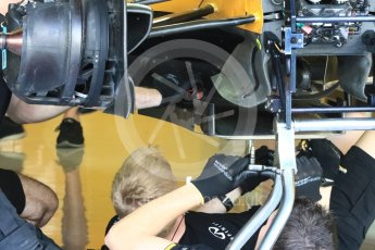 World © Octane Photographic Ltd. Renault Sport F1 Team RS16 - front under tray detail. Thursday 24th November 2016, F1 Abu Dhabi GP - Pitlane, Yas Marina circuit, Abu Dhabi. Digital Ref :