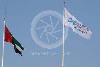 World © Octane Photographic Ltd. Abu Dhabi and circuit flags. Thursday 24th November 2016, F1 Abu Dhabi GP - Pitlane, Yas Marina circuit, Abu Dhabi. Digital Ref :