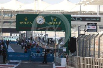 World © Octane Photographic Ltd. Rolex circuit timing board. Thursday 24th November 2016, F1 Abu Dhabi GP - Pitlane, Yas Marina circuit, Abu Dhabi. Digital Ref :