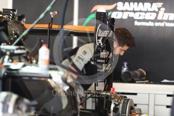 World © Octane Photographic Ltd. Sahara Force India VJM09 - Rear Wing. Thursday 24th November 2016, F1 Abu Dhabi GP - Pitlane, Yas Marina circuit, Abu Dhabi. Digital Ref :