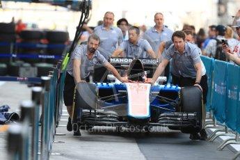 World © Octane Photographic Ltd. Manor Racing MRT05 - Pascal Wehrlein. Thursday 24th November 2016, F1 Abu Dhabi GP - Pitlane, Yas Marina circuit, Abu Dhabi. Digital Ref :