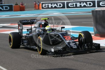 World © Octane Photographic Ltd. McLaren Honda MP4-31 – Jenson Button. Friday 25th November 2016, F1 Abu Dhabi GP - Practice 1, Yas Marina circuit, Abu Dhabi. Digital Ref :