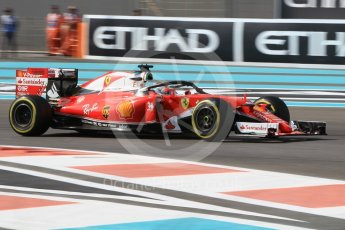 World © Octane Photographic Ltd. Scuderia Ferrari SF16-H with Halo – Sebastian Vettel. Friday 25th November 2016, F1 Abu Dhabi GP - Practice 1, Yas Marina circuit, Abu Dhabi. Digital Ref :