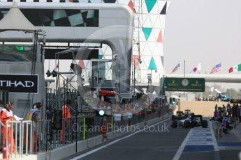 World © Octane Photographic Ltd. Williams heading out the pitlane at the start of the session. Friday 25th November 2016, F1 Abu Dhabi GP - Practice 1, Yas Marina circuit, Abu Dhabi. Digital Ref :