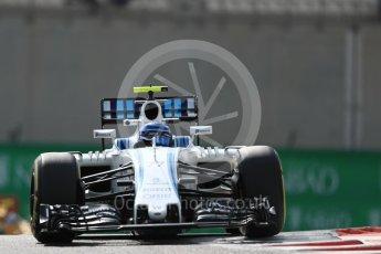 World © Octane Photographic Ltd. Williams Martini Racing, Williams Mercedes FW38 – Valtteri Bottas. Friday 25th November 2016, F1 Abu Dhabi GP - Practice 1, Yas Marina circuit, Abu Dhabi. Digital Ref : 1756LB1D7921