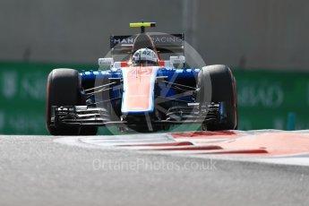 World © Octane Photographic Ltd. Manor Racing MRT05 Development Driver – Jordan King. Friday 25th November 2016, F1 Abu Dhabi GP - Practice 1, Yas Marina circuit, Abu Dhabi. Digital Ref : 1756LB1D7991