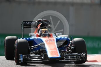 World © Octane Photographic Ltd. Manor Racing MRT05 - Pascal Wehrlein. Friday 25th November 2016, F1 Abu Dhabi GP - Practice 1, Yas Marina circuit, Abu Dhabi. Digital Ref : 1756LB1D8192