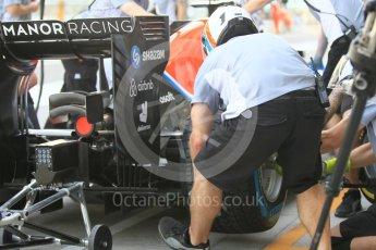World © Octane Photographic Ltd. Manor Racing MRT05 - Pit Stop Practice. Friday 25th November 2016, F1 Abu Dhabi GP - Practice 1, Yas Marina circuit, Abu Dhabi. Digital Ref :