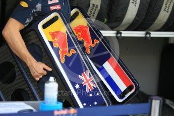 World © Octane Photographic Ltd. Red Bull Racing RB12 – Daniel Ricciardo and Max Verstappen pit boards. Friday 25th November 2016, F1 Abu Dhabi GP - Practice 1, Yas Marina circuit, Abu Dhabi. Digital Ref :