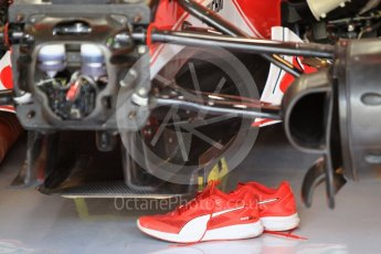 World © Octane Photographic Ltd. Scuderia Ferrari SF16-H – Mechanic's Shoes. Friday 25th November 2016, F1 Abu Dhabi GP - Practice 1, Yas Marina circuit, Abu Dhabi. Digital Ref :