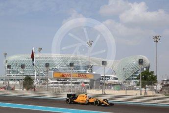World © Octane Photographic Ltd. Renault Sport F1 Team RS16 – Jolyon Palmer. Friday 25th November 2016, F1 Abu Dhabi GP - Practice 1, Yas Marina circuit, Abu Dhabi. Digital Ref : 1756LB2D7007
