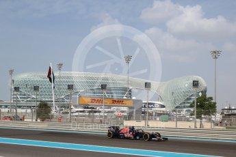 World © Octane Photographic Ltd. Scuderia Toro Rosso STR11 – Daniil Kvyat with halo. Friday 25th November 2016, F1 Abu Dhabi GP - Practice 1, Yas Marina circuit, Abu Dhabi. Digital Ref : 1756LB2D7020