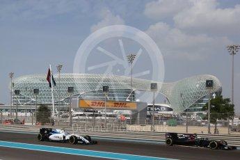 World © Octane Photographic Ltd. Williams Martini Racing, Williams Mercedes FW38 – Valtteri Bottas. Friday 25th November 2016, F1 Abu Dhabi GP - Practice 1, Yas Marina circuit, Abu Dhabi. Digital Ref : 1756LB2D7037