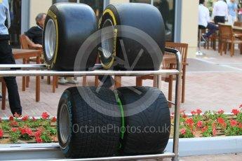 World © Octane Photographic Ltd. 2017 Pirelli new wider tyres on show. Friday 25th November 2016, F1 Abu Dhabi GP - Practice 2, Yas Marina circuit, Abu Dhabi. Digital Ref :